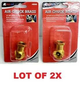 Lot Of 1x Or 2x Solid Brass Air Chuck Ball Tire Inflator 1 4 Npt Coupler Clip
