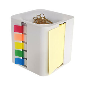 All in one Sticky Note Dispenser Index Flag Organizer Paper Clip Tub Light Grey