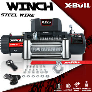 X bull Electric Winch Steel Cable Recovery Winch 4wd Wireless 12000lbs Off road