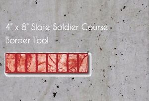 New 4 X 8 Slate Soldier Course Border Concrete Stamp Tool Mat Free Shipping