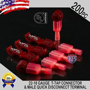 200 T taps Male Disconnect Wire Connectors Red 22 18 Awg Gauge Terminals Ul