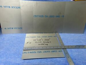 Lot Of 5 Titanium Ti cp Ams 4901 Plate Sheet 10 x 10 x 020 Grade 4