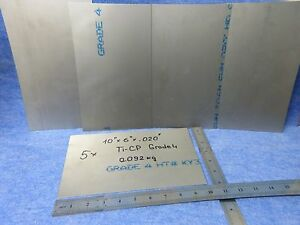 Lot Of 5 Titanium Ti cp Ams 4901 Plate Sheet 10 x 6 x 020 Grade 4