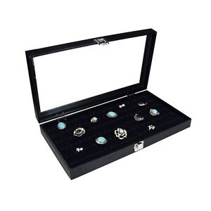 Ikee Design Glass Top Black Jewelry Display Case With 72 Slot Ring Tray 14 3