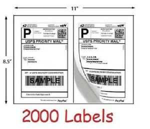 2000 Shipping Labels For Usps Ups Fedex Ebay Postage Self Adhesive Half Sheet