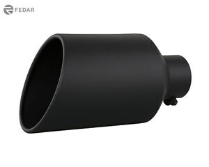 Black 4 Inch Inlet 8 Outlet 15 Long Rolled Truck Exhaust Tip Tail Pipe Muffler