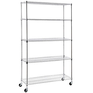 Adjustable 82 x48 x18 5 Tier Wire Shelving Rack Heavy Duty Steel Shelf Chrome