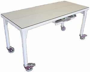 Fi 3199 Mobile X ray Table With Cassette Tray Grid Cabinet Grid Wheel Locks
