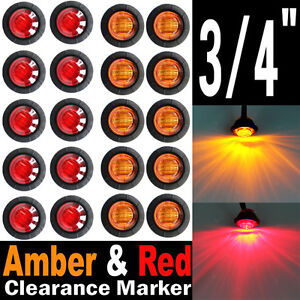 10x Red 10x Amber 3 4 Round Led Clearance Side Marker Light For Truck Trailer