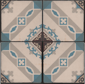 Belgian French Period Entrance Hall Floor Fireplace Hearth 4 Encaustic Tile Set