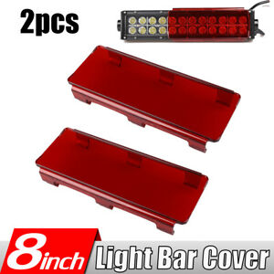 2x 8 Snap On Red Cover Lens For Double Row Straight Curved Led Work Light Bar