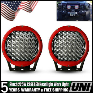 1pc 225w 9 Inch Cree Headlight Round Driving Spot Light Arb Style Jeep Ford F150