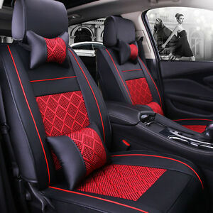 5 seats Car Seat Cover Pu Leather mesh Needlework Front rear Black red Universal