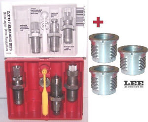 Lee 3 Die Set 90509 for 9mm Luger 9x19 + 3 Quick Change Bushings 90600+90509 new