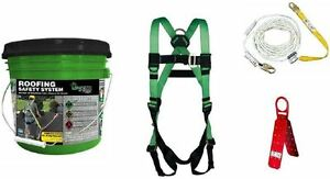Fall Protection Roofing Contractor Safety Kit Anchor Lifeline Lanyard Harness