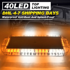 40led 22 Amber And White Emergency Plow Tow Truck Strobe Light Bar Solid Roof