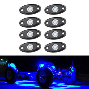 8x Blue Cree Led Rock Light Pods Lights For Off Road Truck Car Jeep Under Wheel