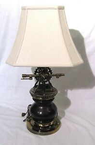Vintage Ethan Allen Nautical Marine Lamp In Antique Dark Pine Survey Brass