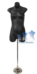 Female Maternity Black And Tall Adjustable Mannequin Stand With 8 Trumpet Base