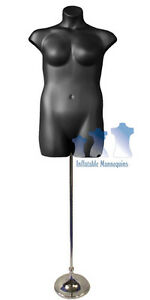 Female Plus Size Black And Tall Adjustable Mannequin Stand With 8 Trumpet Base