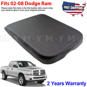 Fits 2002 2008 Dodge Ram Armrest Console Lid Leather Replacement Cover Black