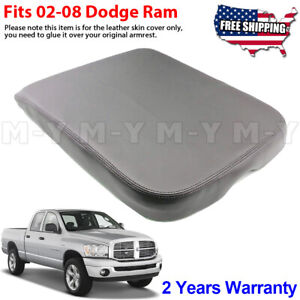 Fits 2002 2008 Dodge Ram Armrest Console Lid Leather Replacement Cover Gray