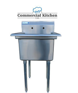 Stainless Steel 1 Compartment Sink 23 X 23 No Drainboard Free Shipping Nsf