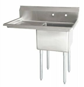 Stainless Steel 1 Compartment Sink 38 5 X 24 W Left Drainboard Free Shipping