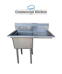 Stainless Steel 1 Compartment Sink 38 5 X 24 With Right Drainboard