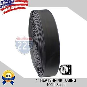 1 100 Ft 100 Feet Black 25mm Polyolefin 2 1 Heat Shrink Tubing Tube Cable Us