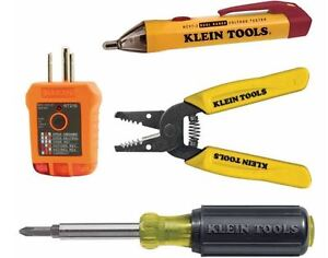 Outlet Switch Installation Kit Receptacle Voltage Tester Wire Cutter Screwdriver