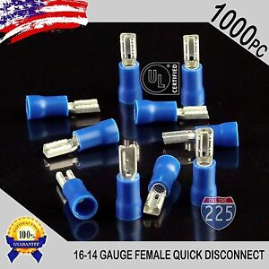 1000 Pack 16 14 Gauge Female Quick Disconnect Blue Vinyl Crimp Terminals 110