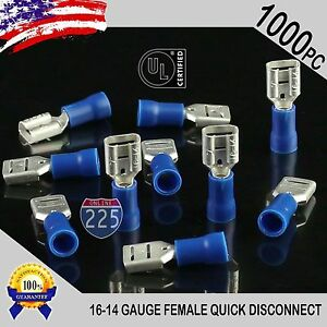 1000 Pack 16 14 Gauge Female Quick Disconnect Blue Vinyl Crimp Terminals 250