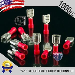 1000 Pack 22 18 Gauge Female Quick Disconnect Red Vinyl Crimp Terminals 250 Us