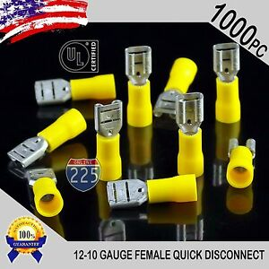 1000 Pack 12 10 Gauge Female Quick Disconnect Yellow Vinyl Crimp Terminals 250