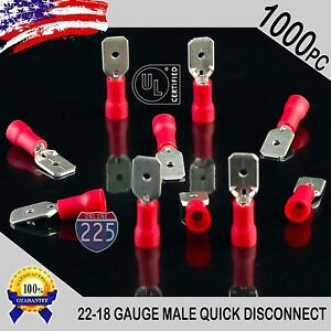 1000 Pack 22 18 Gauge Male Quick Disconnect Red Vinyl Crimp Terminals 250 Us