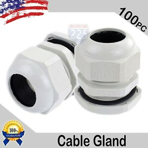 100 Pc 18 25mm Pg29 White Nylon Waterproof Cable Connect Cord Grip Cable Gland
