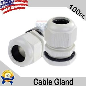 100 Pieces Pg25 White Waterproof Connector Gland 16 21mm Dia Cable