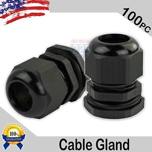 100 Pieces Pg25 Black Waterproof Connector Gland 16 21mm Dia Cable