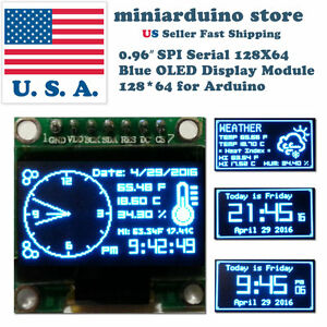 0 96 Spi Serial 128x64 Oled Lcd Led Display Module 128 64 Blue Ssd1306 Arduino