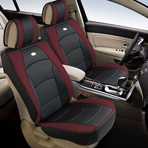 Leather Auto Seat Covers Cushion Pad Front Buckets Suv Sedan Van Burgundy Black