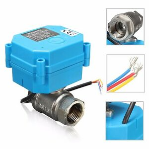 Electric Motorized Ball Valve Dc24v Dn15 2 way 3 wire Stainless Steel 1 2