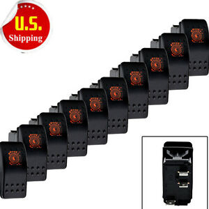 10x Waterproof Marine Orange Led Rocker Toggle Switch With Light On off 3 Pin Us