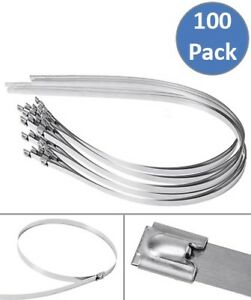 100 Pcs 39 3 Stainless Steel Self Locking Tie Cable Zip Ties Header Wrap Straps