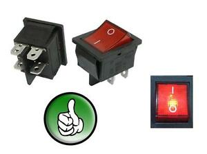 50x 4 Pin On off2 Position Dpst Snap In Boat Rocker Switch With Red Light Lamp