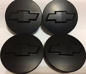 4 Pcs Wheel Emblem Center Hub Caps Chevy Black Matte 83mm 9596403
