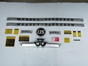 Massey Ferguson 135 Tractor Decal Set With Plastic Molded Emblem And Caution Kit