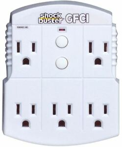 Portable Plug in Gfci 5 outlet Adapter 15 Amp Electrical Ground Fault Detector