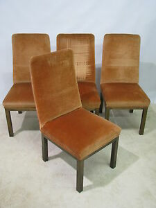 Set Of 4 Vintage Mastercraft Bronze On Brass Finish Dining Chairs High End