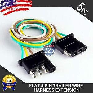 5pcs 2ft Trailer Light Wiring Harness Extension 4 Pin 18 Awg Flat Wire Connector